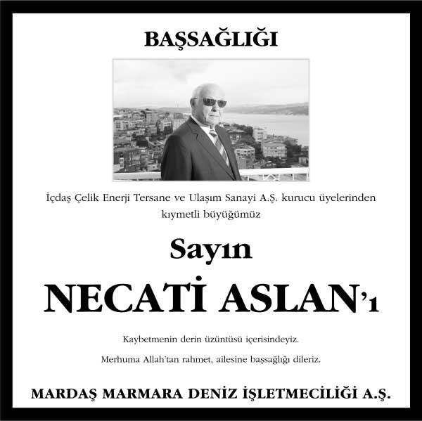 Necati Aslan Hürriyet Gazetesi Başsağlığı ilanı