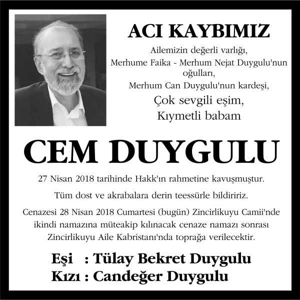 Cem Duygulu Hürriyet Gazetesi Vefat ilanı