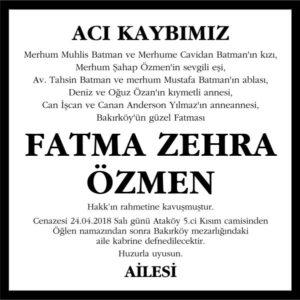 Fatma Zehra Özmen Hürriyet Vefat ilanı