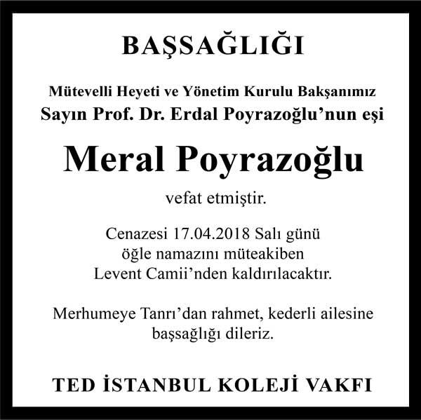 Meral Poyrazoğlu Hürriyet Gazetesi Başsağlığı ilanı
