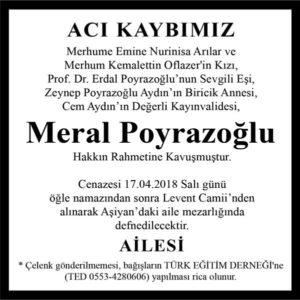 Meral Poyrazoğlu Hürriyet Gazetesi Vefat ilanı