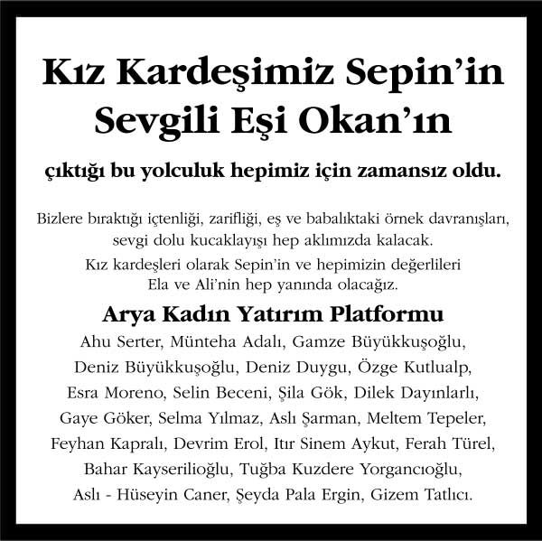 Mustafa Okan İnceer Hürriyet Gazetesi Başsağlığı ilanı