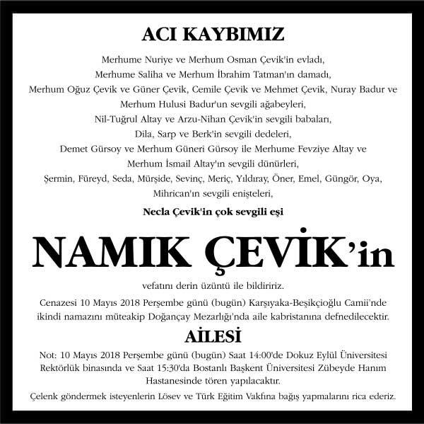 Namık Çevik Sözcü Gazetesi Vefat ilanı