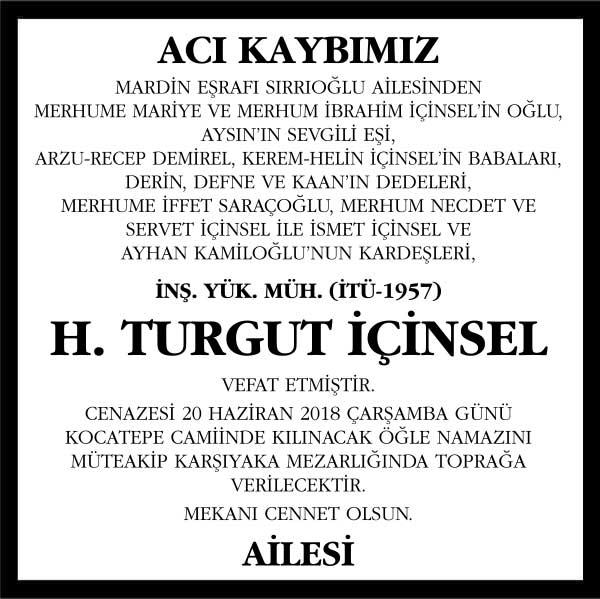 H. Turgut İçinsel Hürriyet Gazetesi Vefat ilanı