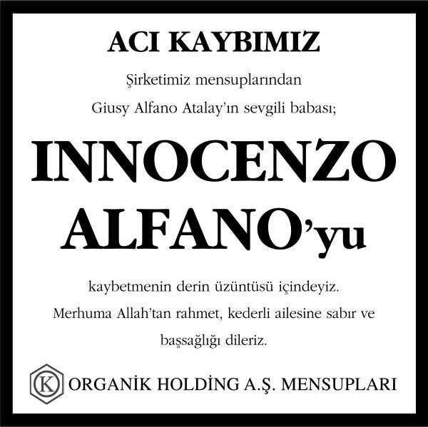 İnnocenzo Alfano Hürriyet Gazetesi Başsağlığı ilanı
