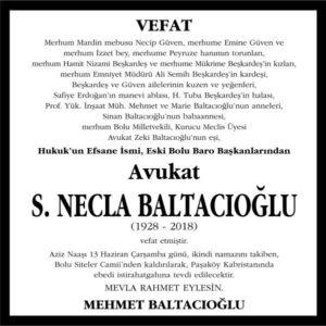 S. Necla Baltacıoğlu Hürriyet Gazetesi Vefat ilanı