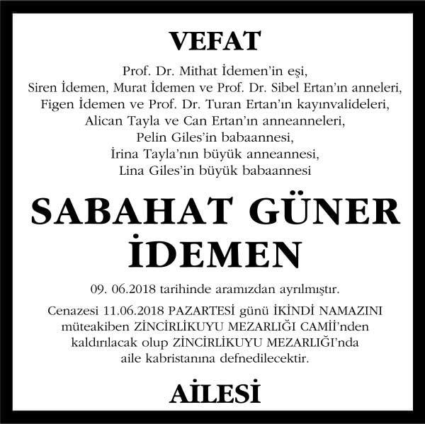 Sabahat Güner İdemen Sözcü Gazetesi Vefat ilanı