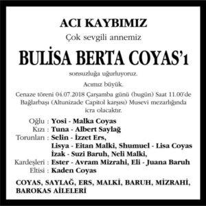 Bulisa Berta Coyas Hürriyet Gazetesi Vefat ilanı