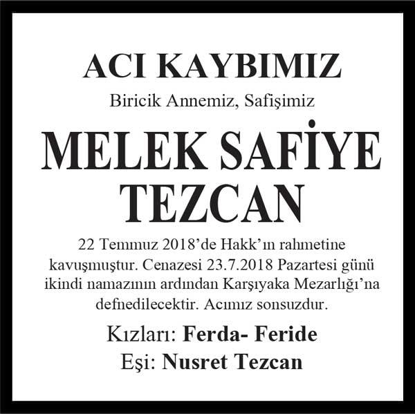 Melek Safiye Tezcan Hürriyet Gazetesi Vefat ilanı