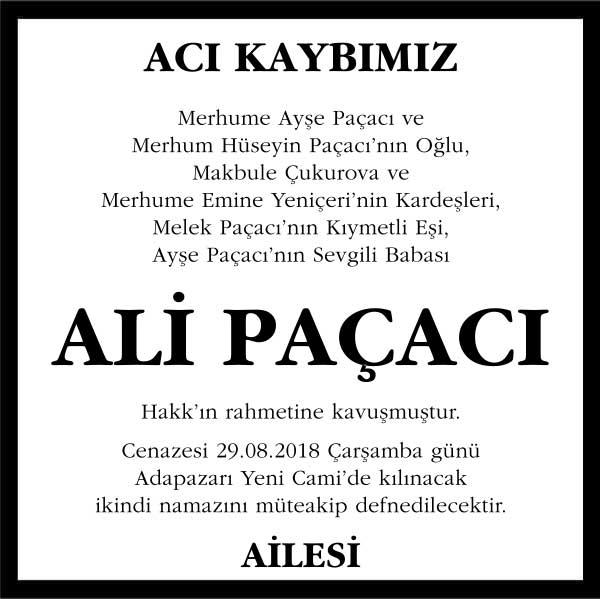Ali Paçacı Hürriyet Gazetesi Vefat ilanı