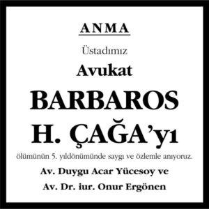 Barbaros H. Çağa Hürriyet Gazetesi Anma ilanı