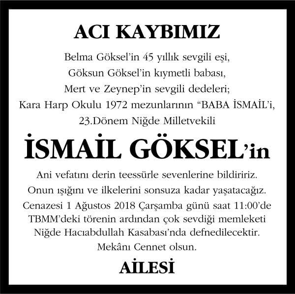 İsmail Göksel Hürriyet Gazetesi Vefat ilanı