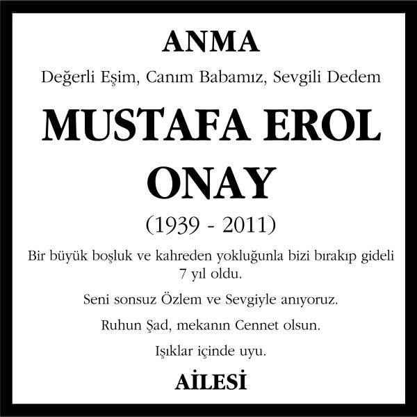 Mustafa Erol Onay Hürriyet Gazetesi Anma ilanı