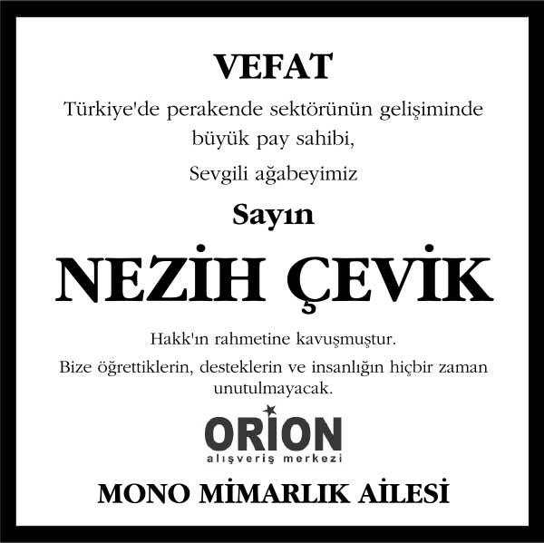 Nezih Çevik Hürriyet Gazetesi Vefat ilanı