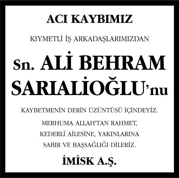 Ali Behram Sarıalioğlu Hürriyet Gazetesi Başsağlığı ilanı