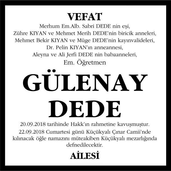 Gülenay Dede Hürriyet Gazetesi Vefat ilanı