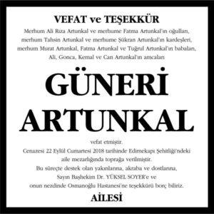 Güneri Artunkal Hürriyet Gazetesi Vefat ve Teşekkür ilanı