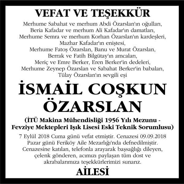 İsmail Coşkun Özarslan Hürriyet Gazetesi Vefat ilanı