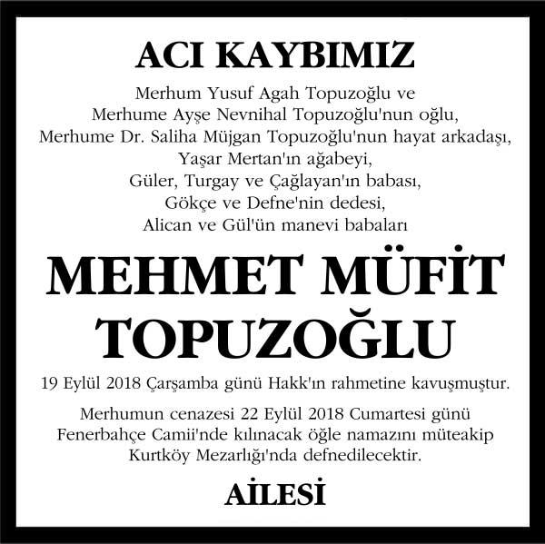 Mehmet Müfit Topuzoğlu Hürriyet Gazetesi Vefat ilanı