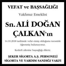 Ali Doğan Çalkan Hürriyet Gazetesi Başsağlığı ilanı