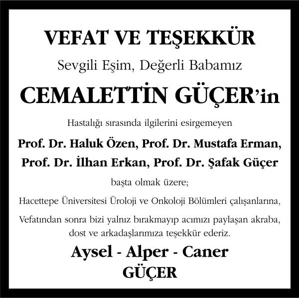 Cemalettin Güçer Sözcü Gazetesi Vefat ve Teşekkür ilanı