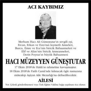 Hacı Müzeyyen Güneştutar Hürriyet Gazetesi Vefat ilanı