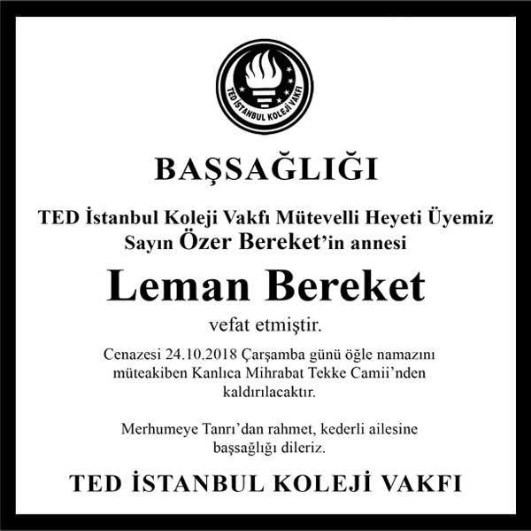 Leman Bereket Hürriyet Gazetesi Başsağlığı ilanı