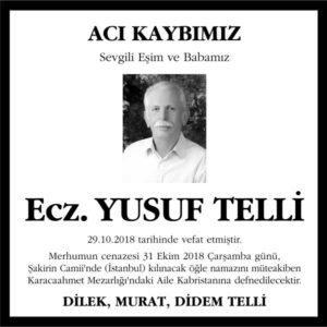 Ecz. Yusuf Telli Hürriyet Gazetesi Vefat ilanı