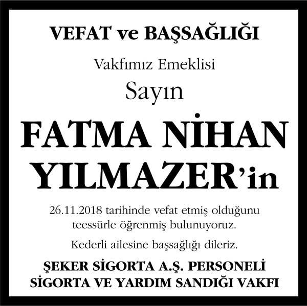 Fatma Nihan Yılmazer Hürriyet Gazetesi Başsağlığı ilanı