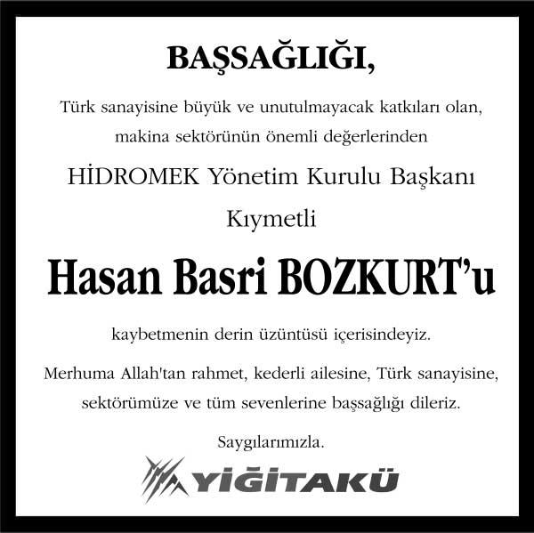 Hasan Basri Bozkurt Hürriyet Gazetesi Başsağlığı ilanı
