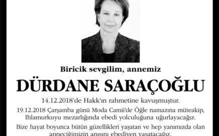 Dürdane Saraçoğlu Hürriyet Gazetesi Vefat ilanı