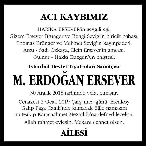 M. Erdoğan Ersever Vefat ilanı