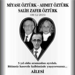 Miyase Öztürk anma ilanı, Ahmet Öztürk anma ilanı, Salih Zafer Öztürk anma ilanı