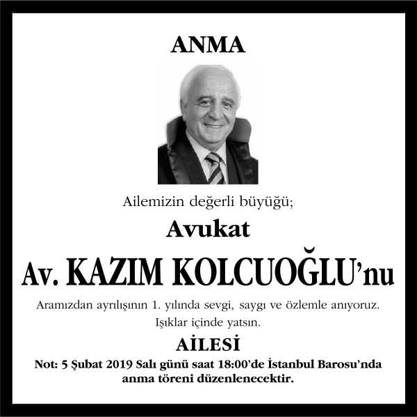 Avukat Kazım Kolcuoğlu Hürriyet Gazetesi Anma ilanı