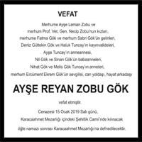 Ayşe Reyan Zobu Gök Hürriyet Gazetesi Vefat ilanı