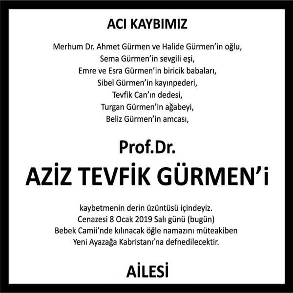 Aziz Tevfik Gürmen Hürriyet Gazetesi Vefat ilanı