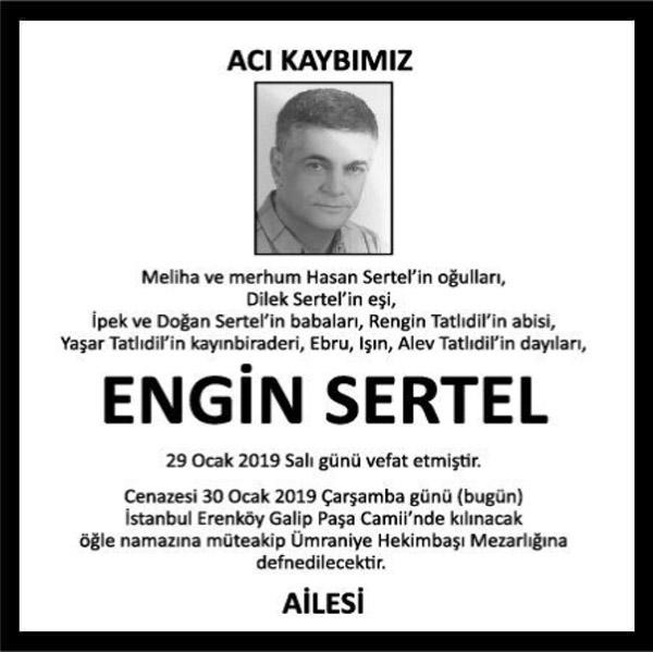 Engin Sertel Hürriyet Gazetesi Vefat ilanı