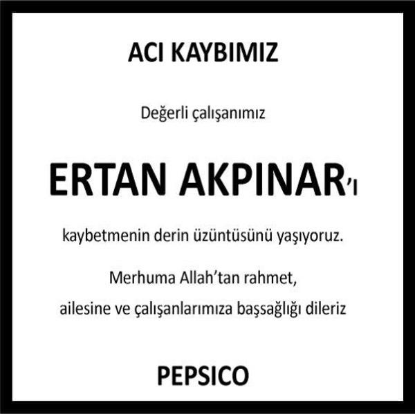 Ertan Akpınar Hürriyet Gazetesi Başsağlığı ilanı