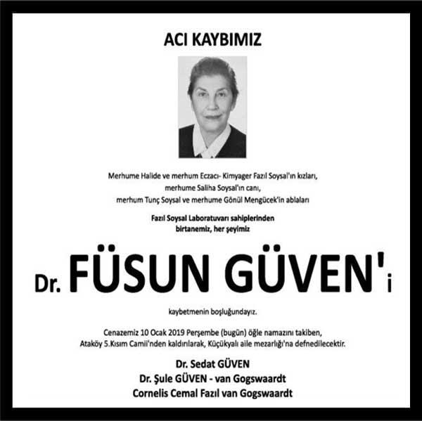 Dr. Füsun Güven Hürriyet Gazetesi Vefat ilanı