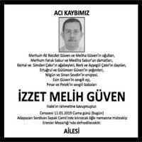 İzzet Melih Güven Hürriyet Gazetesi Vefat ilanı