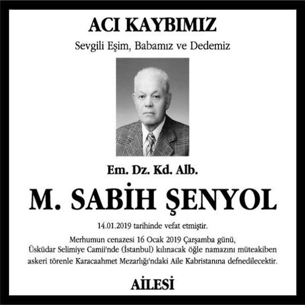 M. Sabih Şenyol Hürriyet Gazetesi Vefat ilanı