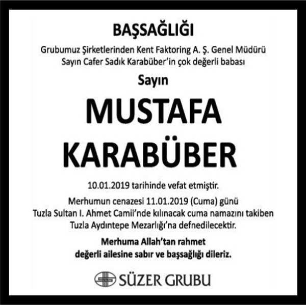 Mustafa Karabüber Hürriyet Gazetesi Başsağlığı ilanı
