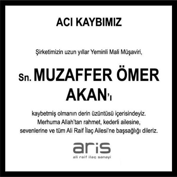 Muzaffer Ömer Okan Hürriyet Gazetesi Başsağlığı ilanı