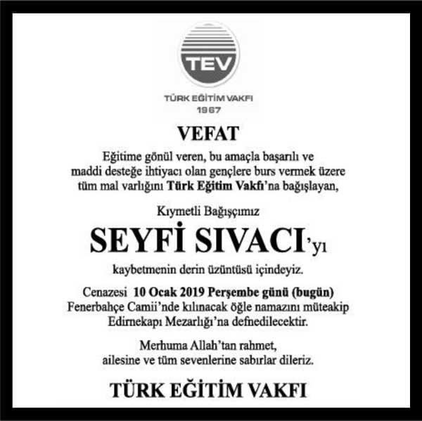 Seyfi Sıvacı Hürriyet Gazetesi Başsağlığı ilanı
