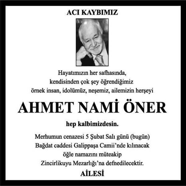 Ahmet Nami Öner Hürriyet Gazetesi Vefat ilanı