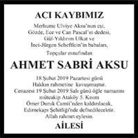 Ahmet Sabri Aksu Hürriyet Gazetesi Vefat ilanı