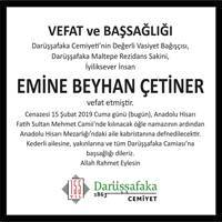 Emine Beyhan Çetiner Hürriyet Gazetesi Başsağlığı ilanı