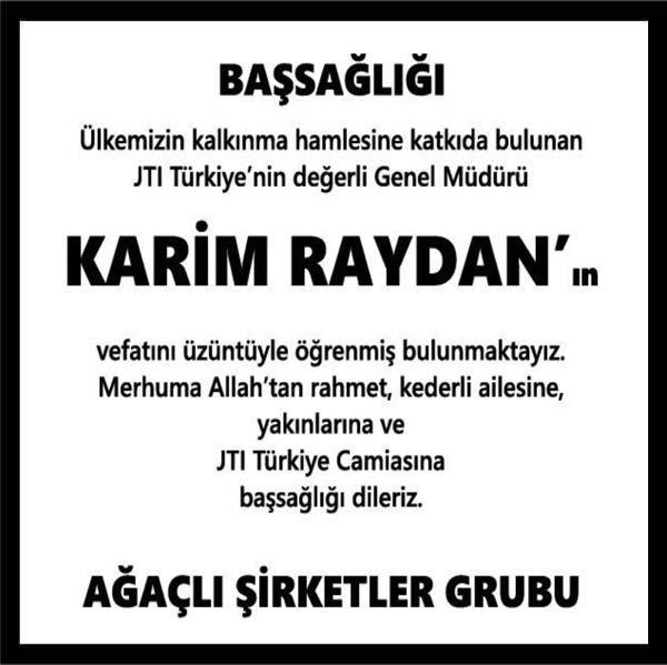 Karim Raydan Hürriyet Gazetesi Başsağlığı ilanı