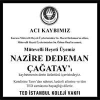 Nazire Dedeman Çağatay Hürriyet Gazetesi Başsağlığı ilanı