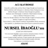 Nursel İbaoğlu Cumhuriyet Gazetesi Vefat İlanı